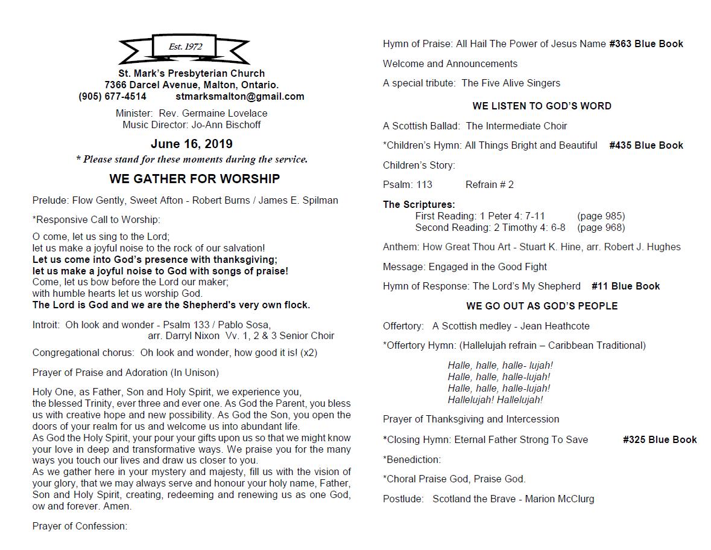 Worship Bulletins | St  Mark's Presbyterian Church