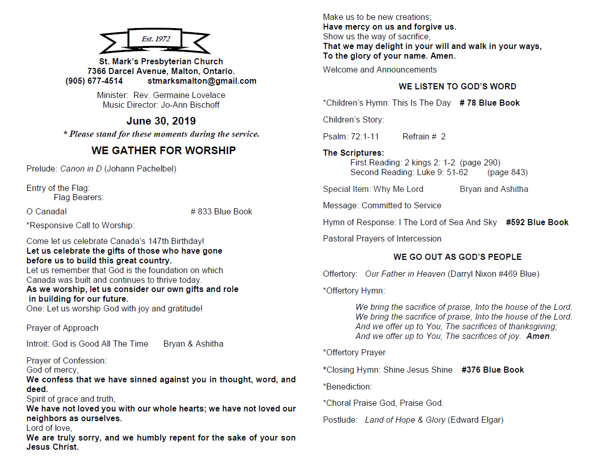 Worship Bulletins | St  Mark's Presbyterian Church